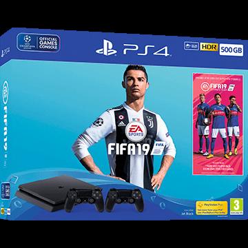 PS4 Slim + FIFA 19 + PS4 Dualshock 4 Controller: Black für nur €399.99