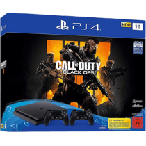 Black PS4 Slim 1TB + Call Of Duty: Black Ops 4 and PS4 Dualshock 4 Controller: Black von Saturn zum €279.00